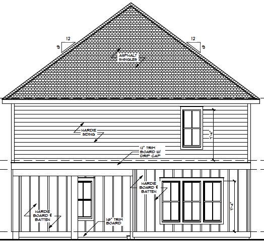 Rear Elevation Carolina Cottage
